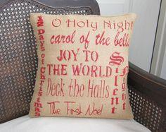 Christmas Carols - Burlap Christmas Pillow. $30.00, via Etsy.