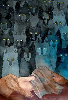 Wolves eyes like stars in a dream.