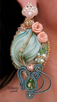 ' Chinese Spring ' earrings - shibori silk and soutache designed by Mhoara Jewels