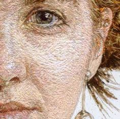 Photorealistic portrait embroidered by Cayce Zavaglia (wool and acrylic). It really looks painted!