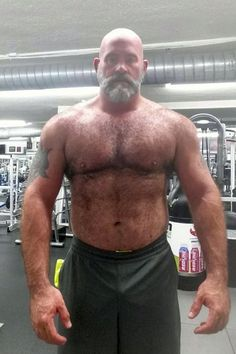 Occasional non-beefy posts may occur for the sole purpose of satisfying my scruffy/hairy/blue eyed actor urge, Daddy Bear Alec Baldwin combining all that and topping them all. Bald Men, Hairy Men, Big Daddy Bear, Lgbt, Male Pattern Baldness, Rugged Men, Beefy Men, Big Guys, Muscular Men