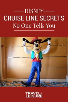 Did you know Goofy, Donald, Daisy, Mickey, and Minnie wear special outfits for Pirate Night and on formal evenings, and also tailor their outfits to where the cruise liner is headed that day? #DisneyVacation #DisneyCruise #DisneyHacks #DisneyTips | Travel + Leisure - Disney Cruise Line Secrets No One Tells You