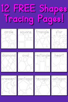 12 FREE Printable Shapes Tracing Worksheets