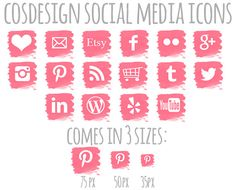 INSTANT DOWNLOAD - Pink Splatter Social Media Icons: 16 Buttons for Blog Youtube, Google, Email, Shopping Cart, Facebook, Twitter via Etsy