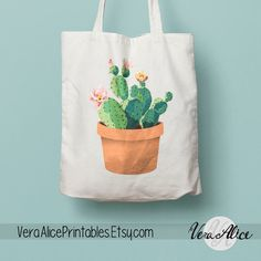 Watercolor Cactus Natural Canvas Tote, Cactus Tote, Painted Tote Bag, Tote Bag Gift, Floral Bag, Beige Tote, Reusable Shopping Bag Tote Gym