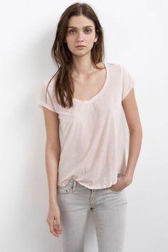 VELVET By Graham & Spencer Corky Sheer Jersey V Neck Solid Tee Shirt Pink S $88 #VelvetbyGrahamSpencer #TankCami #Casual