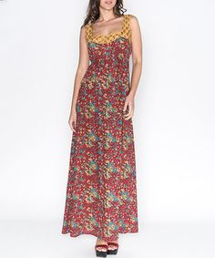 Take a look at this Mahal: Red & Yellow Floral Maxi Dress by Mahal on #zulily today!