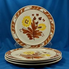 "Vernon Kilns Gale Turnbull Casa California T632 Dinner Plates (4) 10.25"" 1937-38 #VernonKilns"