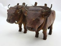 Antique Chinese Oxen in Yoke Carved Wood Figurine Leather Metal | eBay