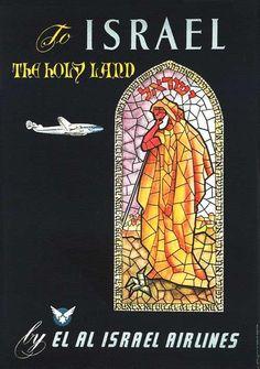 El Al - Israel vintage travel poster ~ 'To Israel, the Holy Land'