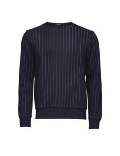 Hubertz sweatshirt - Men's sweatshirt in cotton-blend with jacquard knitted pinstripes. Features ribbed trim at cuffs, hem and neck. Men's Sweatshirts, Tiger Of Sweden, Cuffs, Leather Jacket, Fit, Sweaters, Cotton, Jackets, Fashion