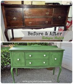Before and After Tavern Green Antique Buffet
