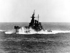 USS North Carolina in heavy seas, 1944.