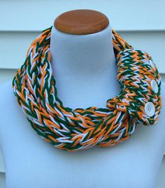 44c99ad557d1c Hurricanes Scarf Miami Scarf Football Scarf Miami Hurricanes Sports Fan  Gift Finger Knit Scarf Infin Gifts