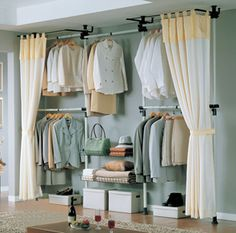 I am considering using the ALGOT storage options from IKEA and then curtaining it off with vintage fabrics to create my own wardrobes
