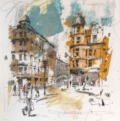 Andrew Hood, Oxford Study, Mixed media Use shirt printing sheets so I can scrape off arse of the photographic image Architecture Sketchbook, Art Sketchbook, Art And Architecture, Urban Landscape, Landscape Art, Landscape Paintings, Landscape Model, Landscape Illustration, Landscape Design