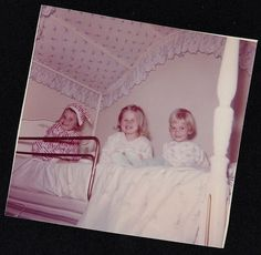Old Vintage Photograph Three Adorable Little Girls Sitting in Canopy Bed 1963