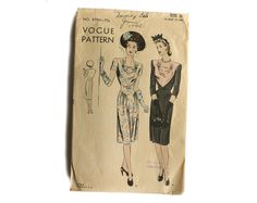 Vogue 9790 Misses 1940s Dress Pattern Draped by VtgSewingPatterns, $35.00