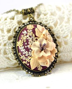 Ready to ship! - Floral Pendant Applique - Beige Ivory Cream Vinous color - Polymer clay jewelry  - Necklace  - Floral Jewelry