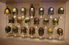 Museum of artifacts  Ancient Greek helmets 6-4th century BC