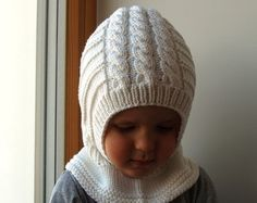 REREADY TO SHIP all sizes! Merino Balaclava, Baby/ Toddler/ Kids Hoodie hat, Snow white Hat-Neckwarmer. Sizes 6-12m / 1-3-6-10 years.