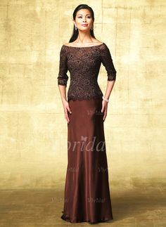 Vbridal - A-Line/Princess Off-the-Shoulder Floor-Length Charmeuse Lace Mother of the Bride Dress With Beading (00805006978)