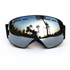 COPOZZ Ski Goggles with Googles Case - Skiing,Snow,Snowboard,Snowboarding,Snowmobile Glasses with Dual Anti-fog PC REVO Lens - Anti-UV - Large Frame for Adult,Men,Women,Youth Dark Black