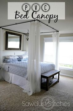 PVC Bed Canopy - There is something about the look of white billowy curtains that I have always loved! It  seems so serene, and spa-like.  Well, I decided to cr