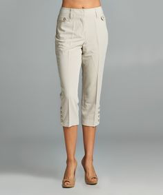 Look what I found on #zulily! New Stone Button-Hem Capri Pants - Womens by Larry Levine #zulilyfinds