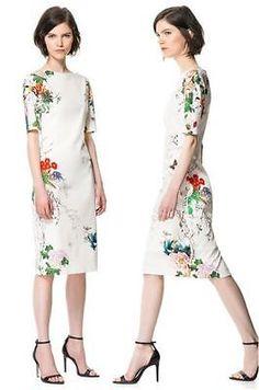 Vtg TOP BLOGGER FAV ORIENTAL FLORAL Flower Print Zara Style Wedding Party DRESS