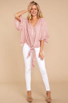 Trendy Light Pink Tie Top - Pink Tie Top - Top - $38.00 – Red Dress Boutique