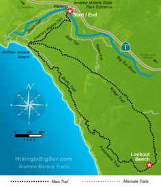 Hiking in Big Sur - Andrew Molera Loop . Southern California Camping, Going To California, Central California, California Travel, Northern California, Big Sur, Bay Area Hikes, Go Hiking, Hiking Trails