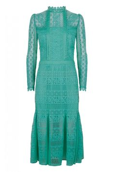 Desdemona Lace Dress in Jade by Temperley of London and sold by Orchard Mile.  Reminiscent of days gone by.  It is midi length and is 100% cotton. Also available in White and Black.