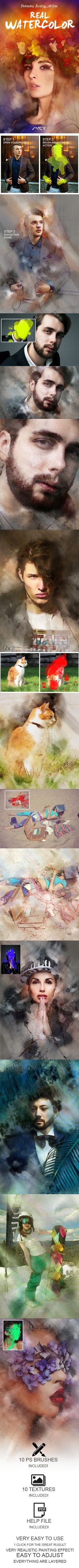 Real Watercolor Painting Photoshop Action - Photo Effects Actions