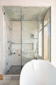 Eclectic transitional master bathroom shower.