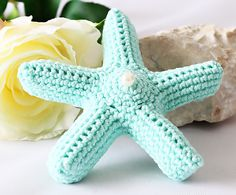Crochet Brooch, Seastar Jewelry, Turquoise Jewelry, Gift for Her, Gift for Women, Gift for Girl, Christmas Gift, Tropical, READY TO SHIP by RoseValleyVilaga on Etsy