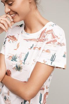 Such a cute T-shirt print! I love unique prints on my t-shirts. My favorite T is mint green with shrimp all over it. I regret nothing!