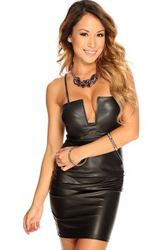 This cute short party dress features faux leather, square neckline, U-shape boning, spaghetti straps, lightly padded bra cups followed by a curve hugging fit. 92% Polyester 8% Spandex