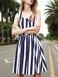 European Style Round Neck  Striped Skater-dresses Skater Dresses from fashionmia.com