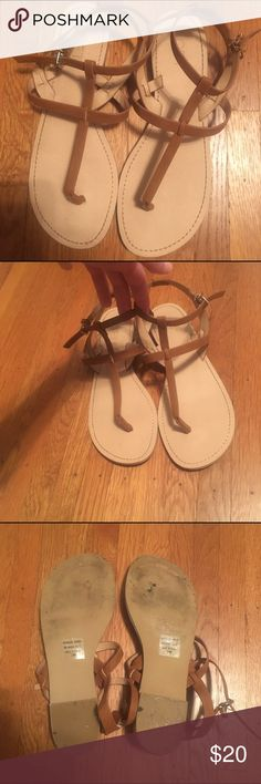 Loft Sandals Cute brown sandals from Loft. Size 8. These were worn once and in great condition. The foot beds are very clean. The soles have more signs of wear (worn on new blacktop, note the black marks). LOFT Shoes Sandals