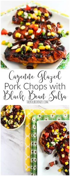 A spicy and sweet glaze paired with a Southwestern black bean salsa makes these cayenne glazed pork chops a delicious choice for an easy weeknight meal.