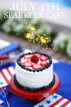 SPARKLER CAKE for JULY 4th!!