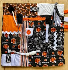Excited to share this item from my #etsy shop: Fidget Blanket for Alzheimer's, Fidget Quilt, BENGALS by Restless Remedy Saving Coins, Fidget Blankets, Fidget Quilt, Dementia Care, Custom Quilts, Alzheimers, Etsy App, Sell On Etsy, Soft Fabrics