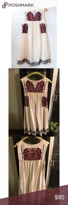 Burning Torch Athens Dress Worn once for an event. Pretty embroidery, tunic dress. Burning Torch Dresses Mini