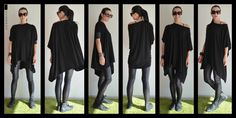 Loose maxi tunic with leather sleeves/Long Blouse/Asymmetric Tunic Top/Asymmetrical Top/Maxi tunic top / Plus size tunic top / by ClothesByLockerRoom on Etsy https://www.etsy.com/listing/220377874/loose-maxi-tunic-with-leather