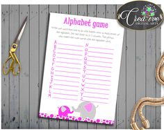 Shower Pink Theme Baby Shower Elephant Letters Game Grammar Game ALPHABET GAME, Printables, Customizable Files, Party Ideas - ep001 #babyshowerparty #babyshowerinvites