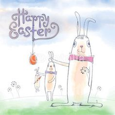 Happy Easter cute vector greeting card with Easter Bunny. Hand drawn lettering