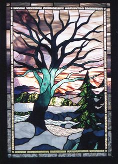 . pretty stained glass tree and sky (tree of death, tree of life in latin or greek)