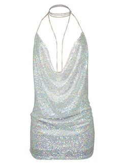 Sequin Embellished Silver Open Back Mini Dress on sale only US$23.22 now, buy cheap Sequin Embellished Silver Open Back Mini Dress at liligal.com