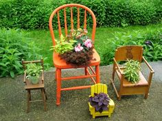 Convert old wooden, wicker or plastic chairs into uncommon containers by cutting a hole in the seat and slipping in a pot of flowers. Doll-sized chairs don't need any extra preparation: Simply set a small pot right on the seat.